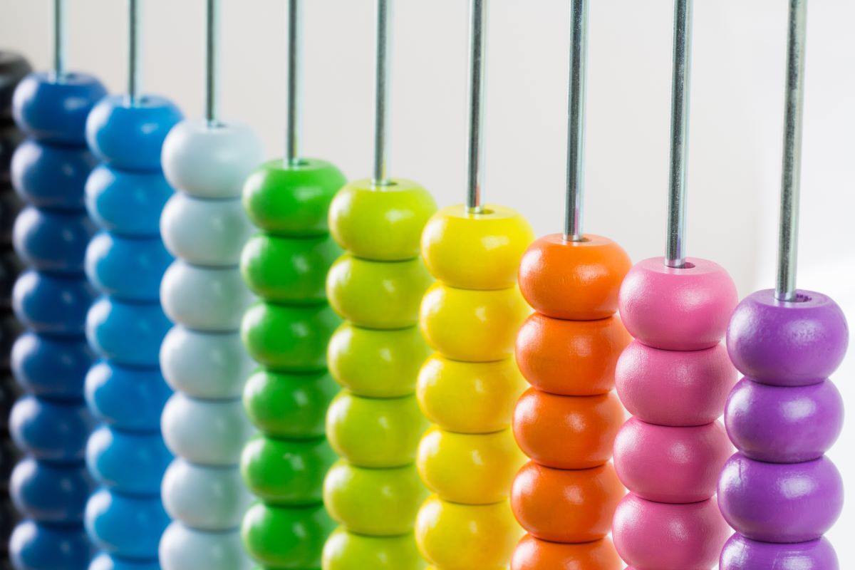 Colourful abacus on white background